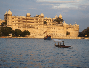 Udaipur, Rajasthan. In the image is the City Palace in the background and lake Pichola in the foreground.