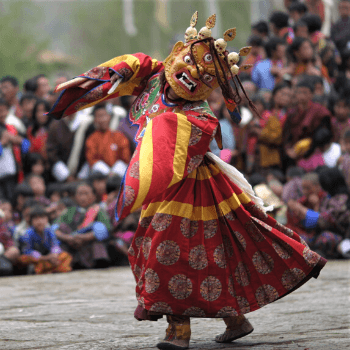 Photo of masked Cham dancer in Bhutan