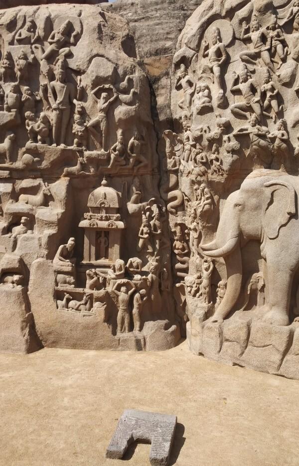 Arjunas Penance and descent of the Ganges Mamallapuram Tamil Nadu