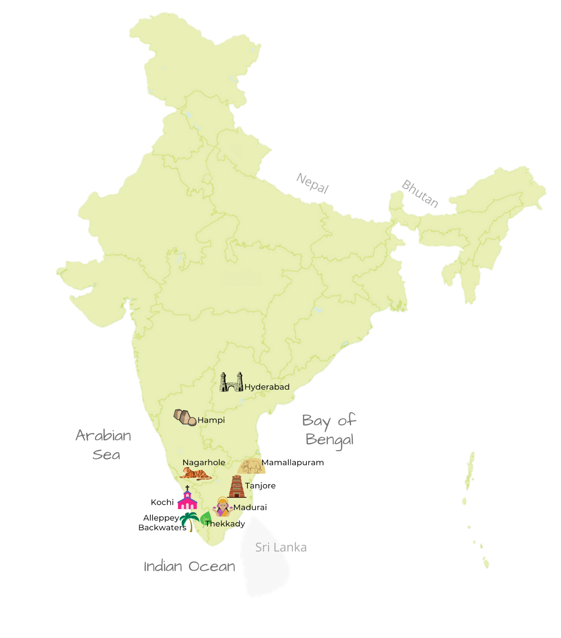 South India destinations map by Jasmine Trails