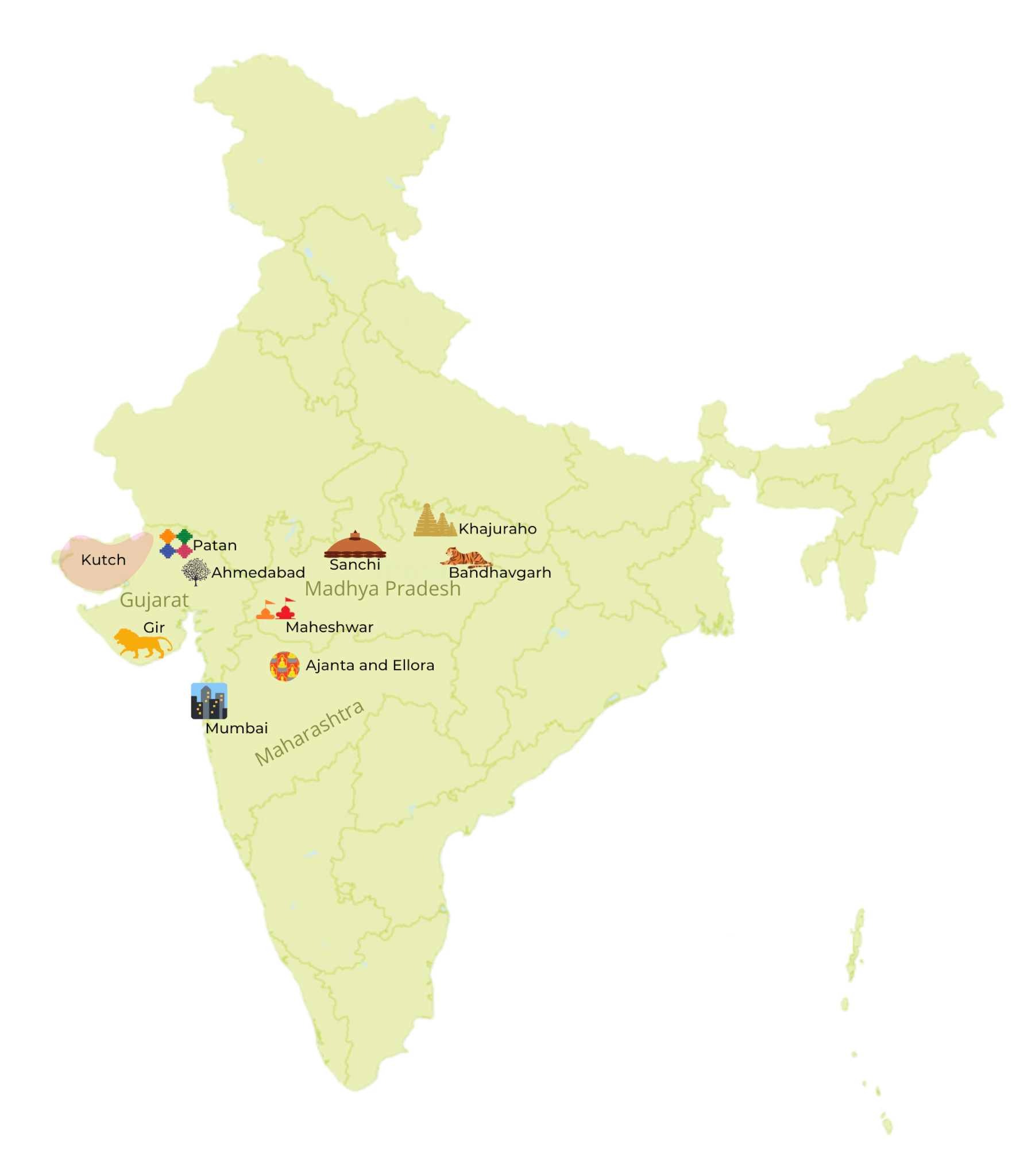 West and Central India, travel destinations map