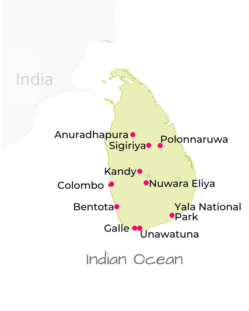 Sri Lanka Travel Destinations Map by Jasmine Trails
