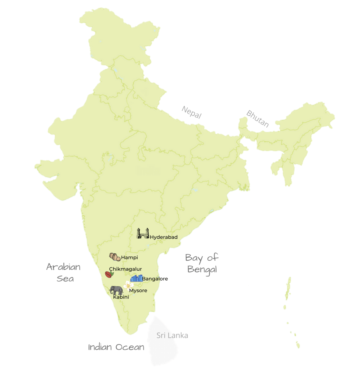 The heart of the Deccan Tour Map By Jasmine Trails